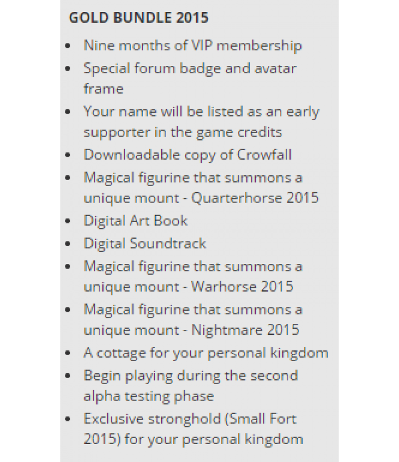 Crowfall  >  Items  >  All Servers  >  Gold Bundle 2015