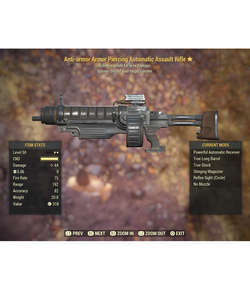 Fallout 76  >  Items  >  PS4 - Weapons  >  Anti-armor Armor Piercing Automatic Assault Rifle - Level 45