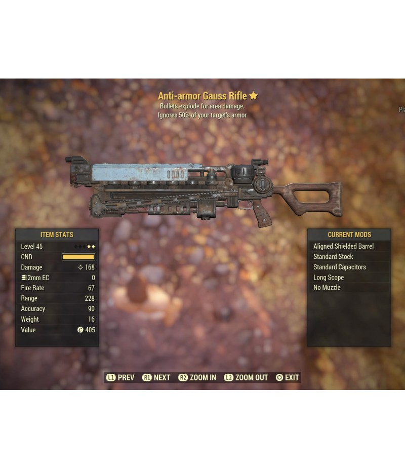 Fallout 76>Items>PS4 - Weapons>Anti-armor Gauss Rifle - Level 45