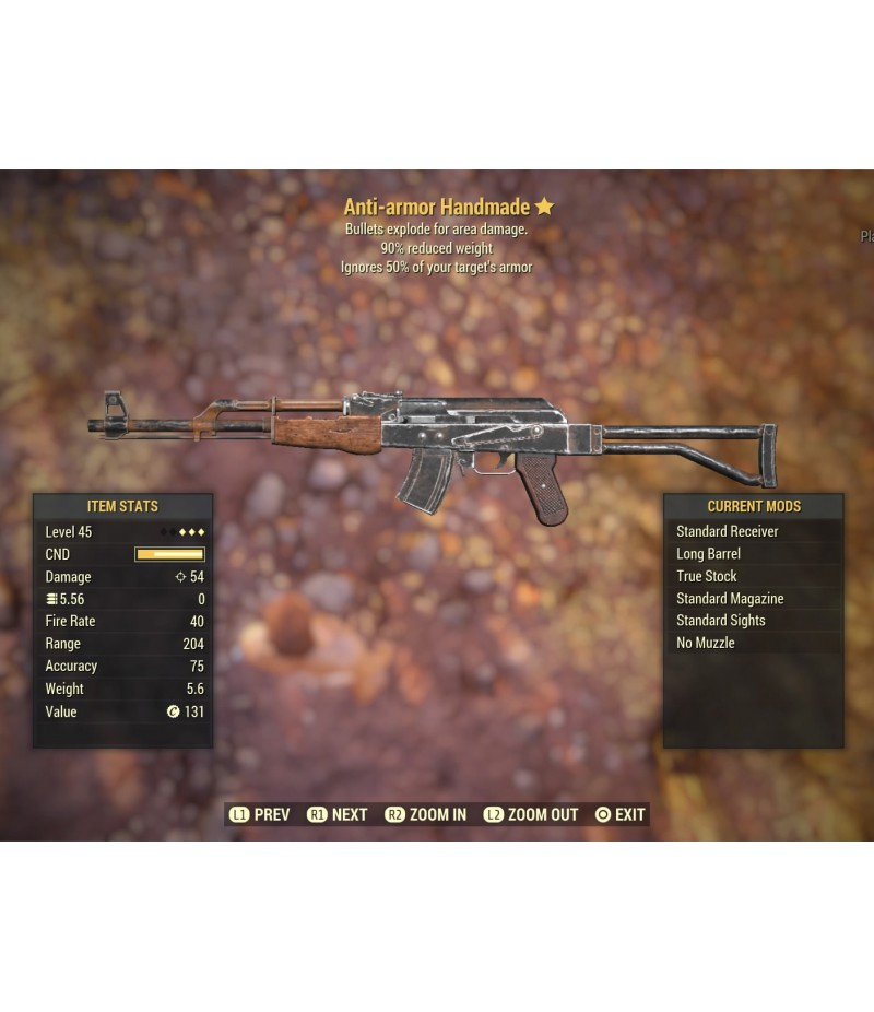 Fallout 76>Items>PS4 - Weapons>Anti-armor Handmade - Level 45