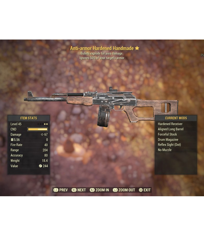 Fallout 76>Items>PS4 - Weapons>Anti-armor Hardened Handmade - Level 45