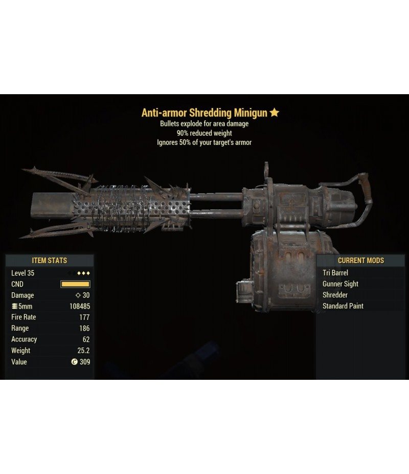 Fallout 76  >  Items  >  PS4 - Weapons  >  Anti-armor Shredding Minigun - Level 35