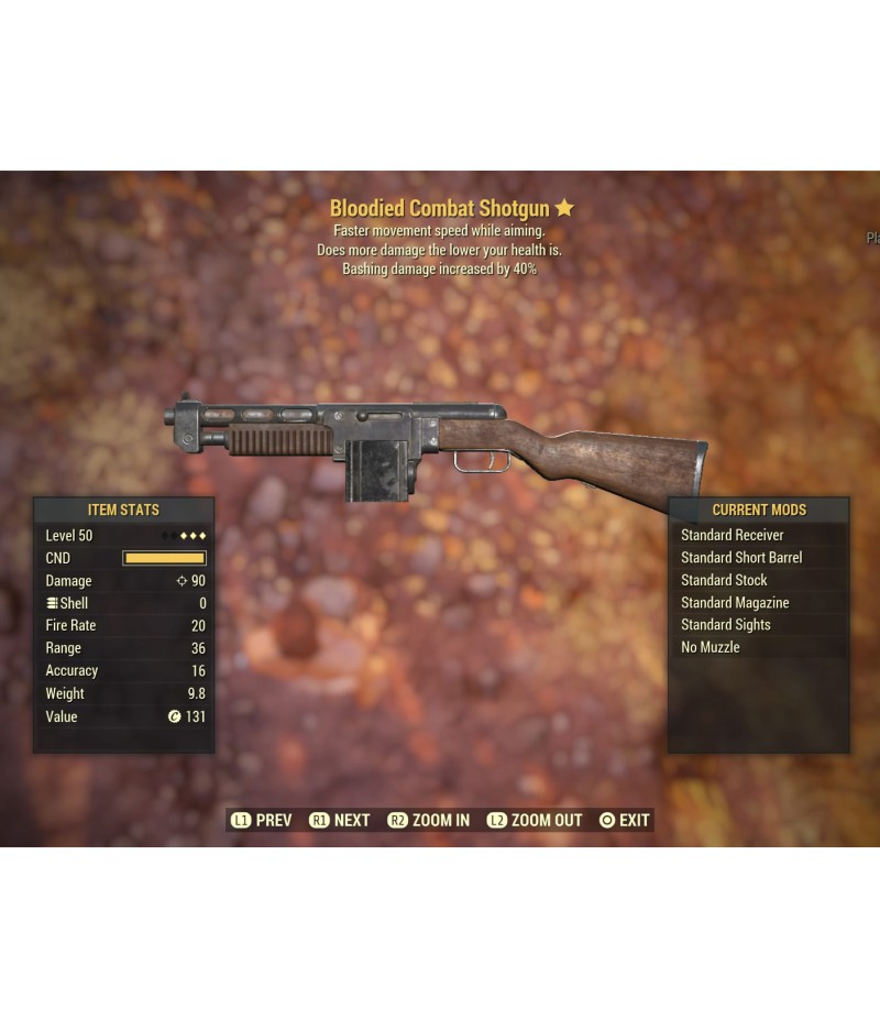 Fallout 76>Items>PS4 - Weapons>Bloodied Combat ShotGun - Level 50