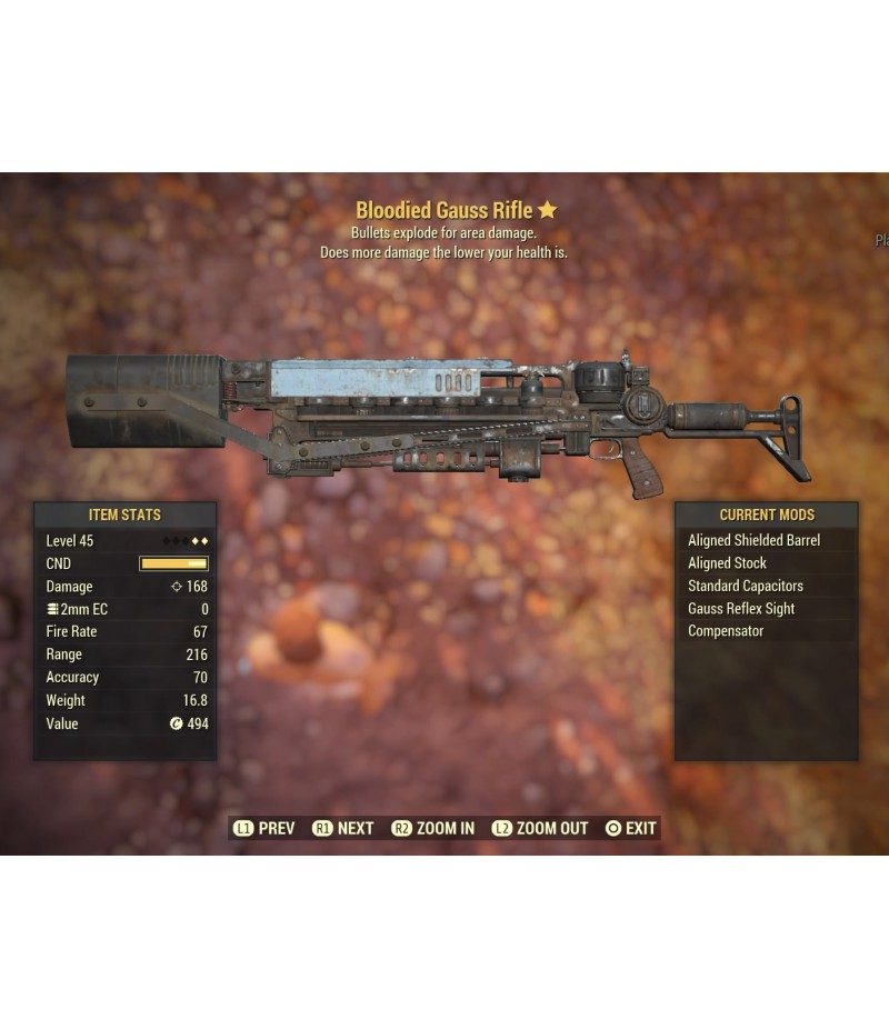 Fallout 76>Items>PS4 - Weapons>Bloodied Gauss Rifle - 45