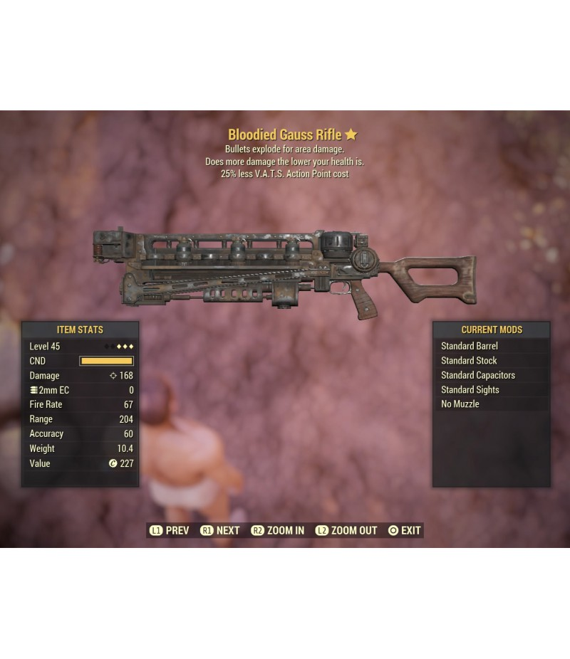 Fallout 76>Items>PS4 - Weapons>Bloodied Gauss Rifle - Level 45