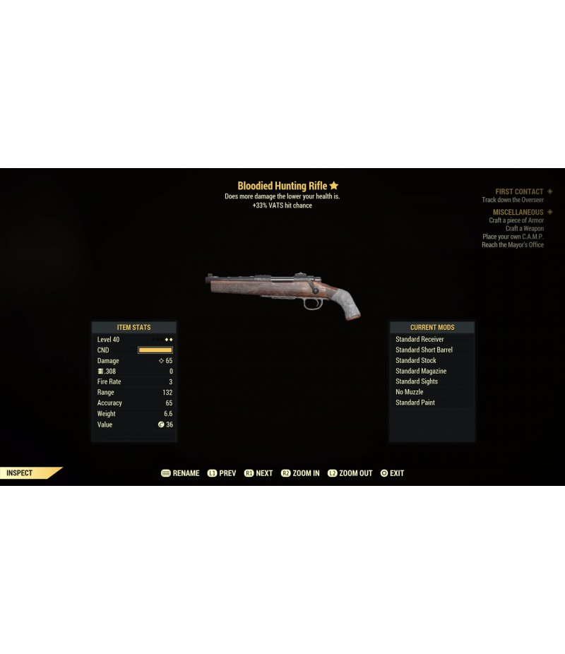 Fallout 76>Items>PS4 - Weapons>Bloodied Hunting Rifle - Level 40