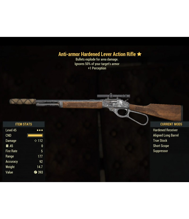 Fallout 76>Items>XBOX ONE - Weapons>Anti-armor Hardened Lever Action Rifle- Level 45