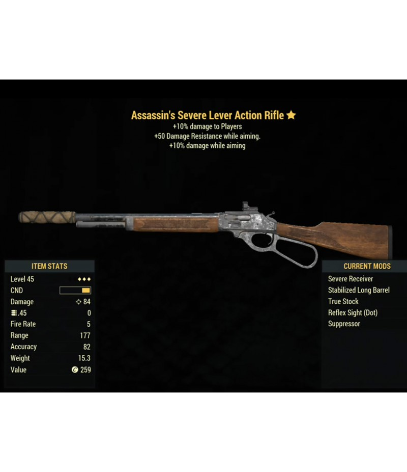 Fallout 76  >  Items  >  XBOX ONE - Weapons  >  Assassins Severe Lever Action Rifle- Level 45