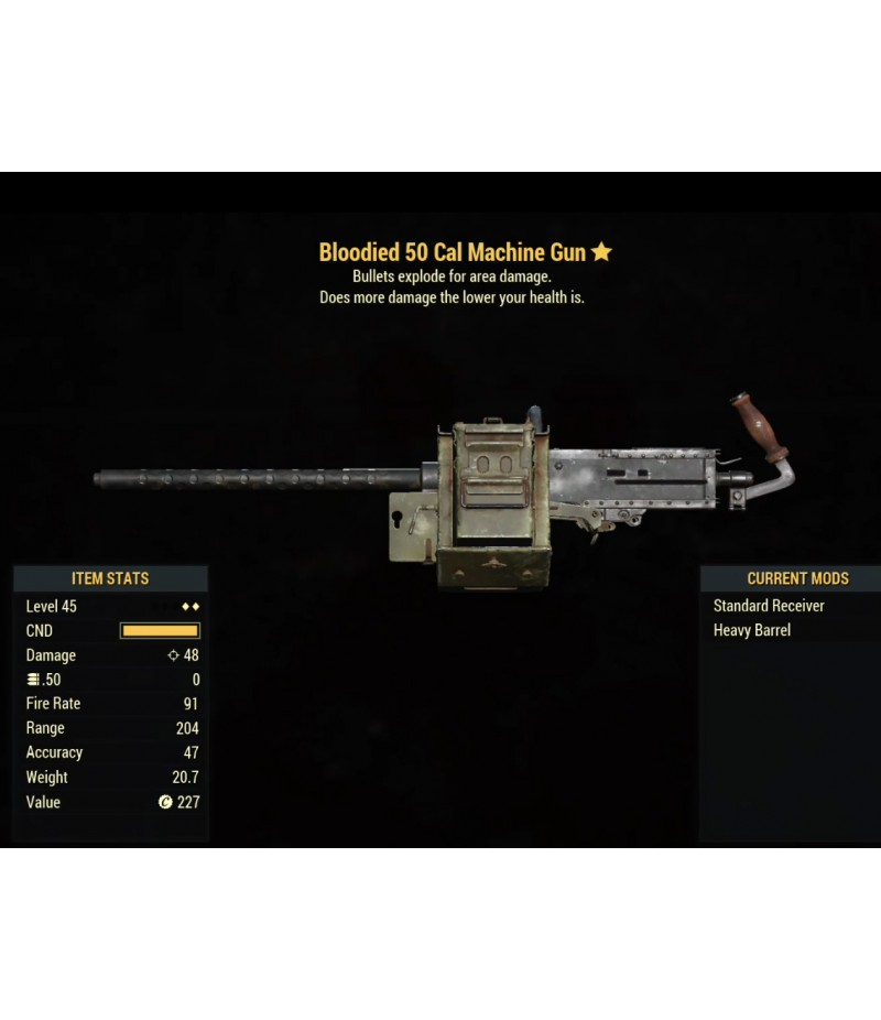 Fallout 76>Items>XBOX ONE - Weapons>Bloodied 50 Cal Machine Gun- Level 45
