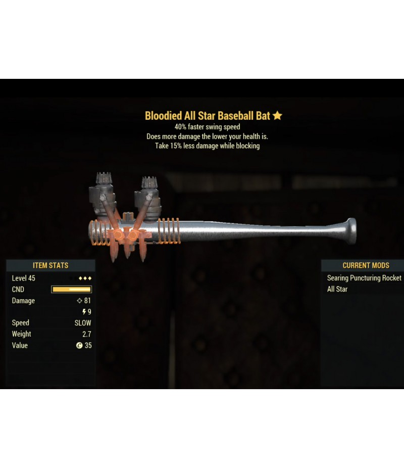 Fallout 76>Items>XBOX ONE - Weapons>Bloodied All Star Baseball Bat- Level 45