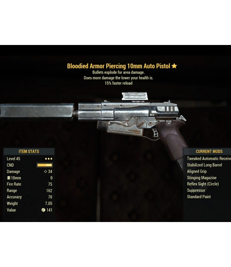 Fallout 76  >  Items  >  XBOX ONE - Weapons  >  Bloodied Armor Piercing 10mm Auto Pistol- Level 45
