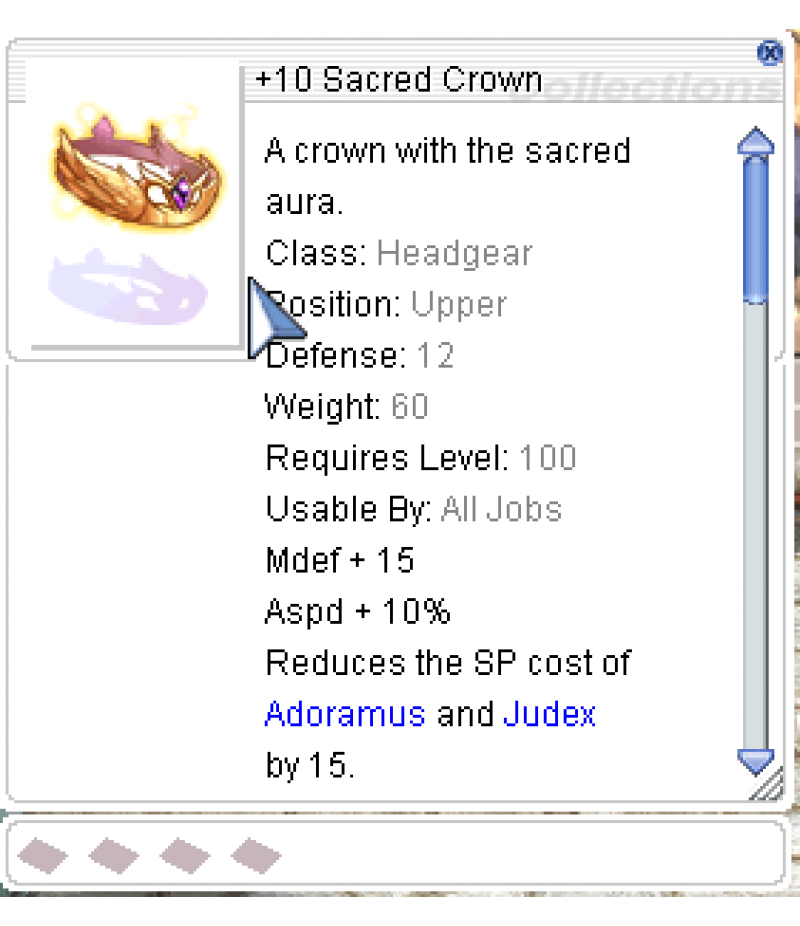 Ragnarok Online  >  Items  >  US - Chaos - Items  >  +10 Sacred Crown