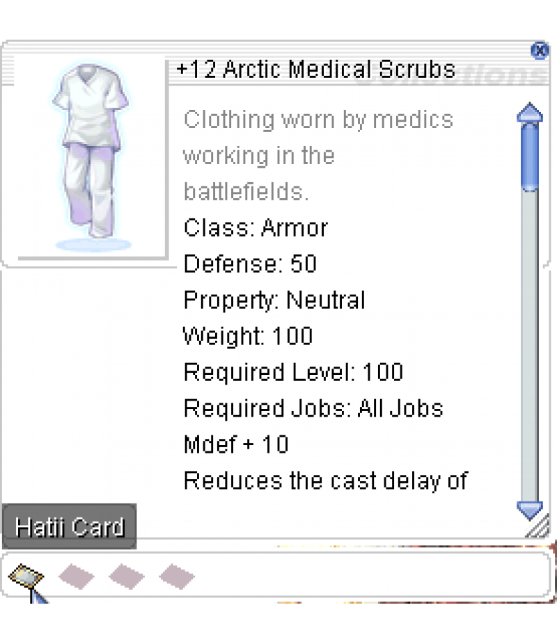 Ragnarok Online  >  Items  >  US - Chaos - Items  >  +12 Arctic Medical Scrubs