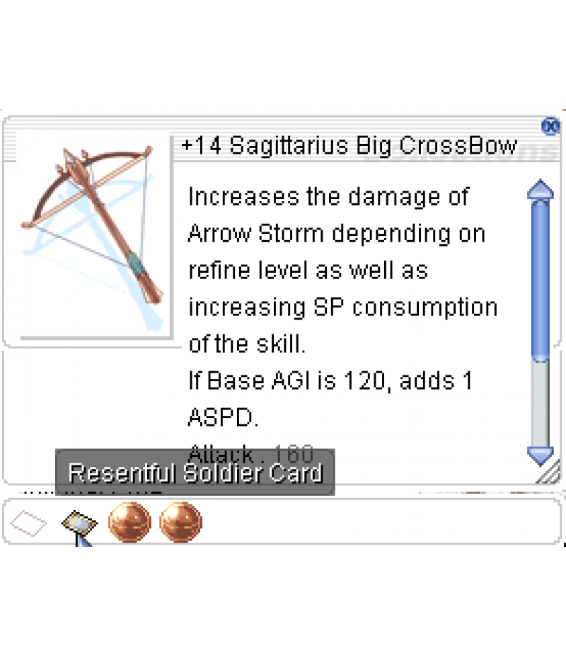Ragnarok Online  >  Items  >  US - Chaos - Items  >  +14 Sagitarius Big CrossBow EA3