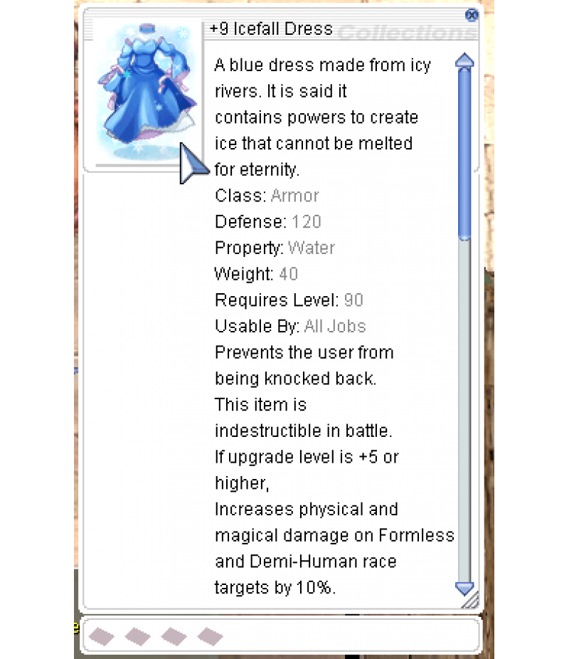 Ragnarok Online  >  Items  >  US - Chaos - Items  >  +9 Icefall Dress