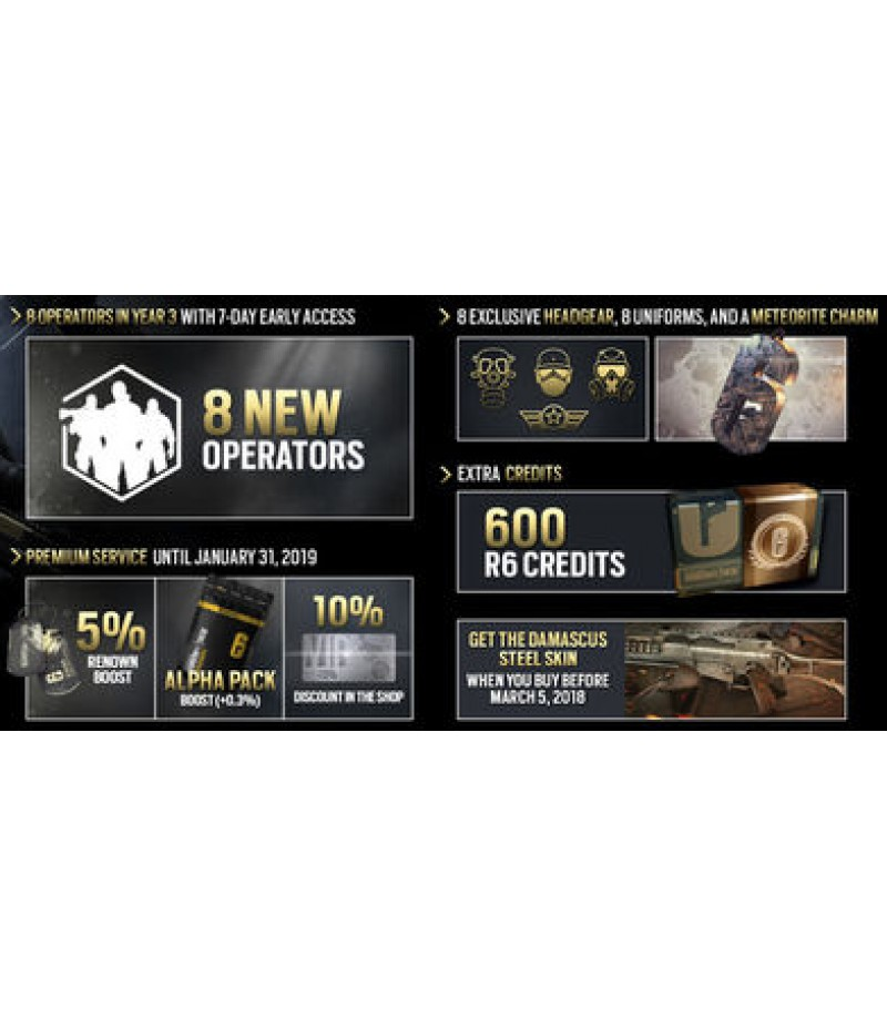 Rainbow Six Siege  >  Items  >  R6 Credits(PC only)  >  Year 4 Pass