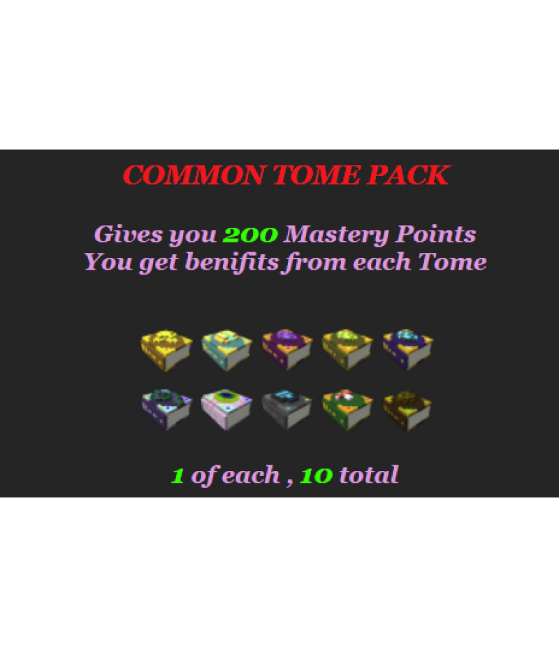 Trove>Items>PC Mastery Packs>Common Tome Pack