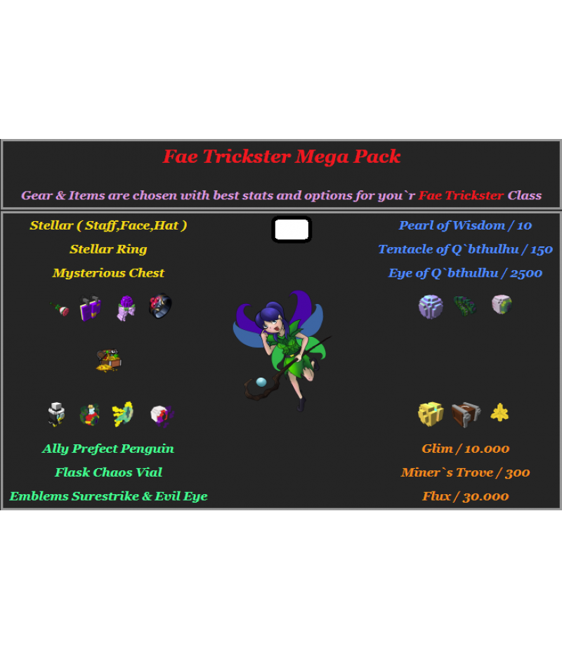 Trove  >  Items  >  PC Mega Packs  >  Fae Trickster Mega Pack