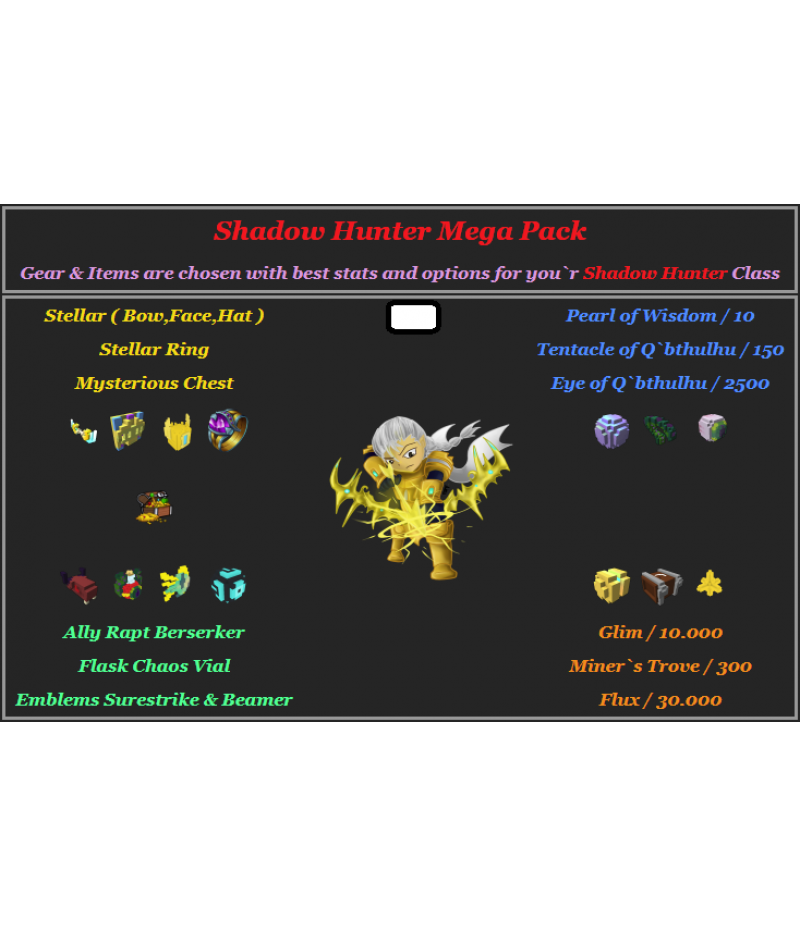 Trove  >  Items  >  PC Mega Packs  >  Shadow Hunter Mega Pack