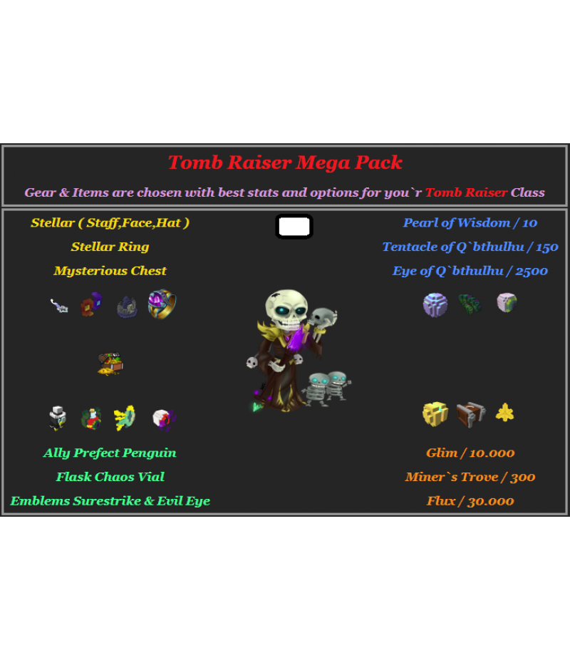 Trove  >  Items  >  PC Mega Packs  >  Tomb Raiser Mega Pack